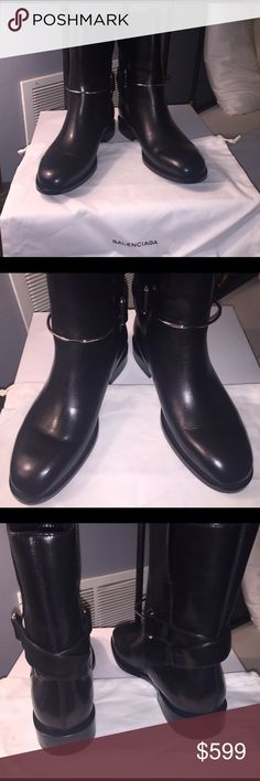 Balenciaga boots Beautiful Balenciaga moto boots. Black leather. Silver hardware. Pull on style. Perfect condition - never worn. Balenciaga Shoes Ankle Boots & Booties