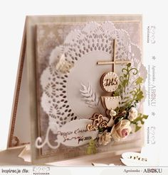 Ślubnie i komunijnie / Wedding And First Communion (With images) First Communion Cards, First Holy Communion, Scrapbook Cards, Scrapbooking, Christian Cards, Christening Gifts, Card Making Inspiration, Paper Cards, Handmade Decorations