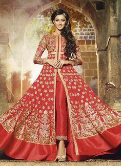Shop for Red Georgette Floor Length Anarkali Suit