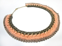 Crochet chain necklace in taupe and salmon pink with mini pompom in tan