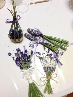 fresh lavender craft - mini basket, lavender wands, lavender fan, wall hanging mini bouquet.