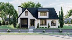 The Fox Hills plan merges the classic cottage styling with modern elements to create the new Modern Cottage style. Contrasting colors on the stucco and a shed dormer make this plan a unique masterpiec Cottage House Plans, Cottage Homes, Cottage House Styles, White House Plans, Square House Plans, Unique House Plans, Tudor Cottage, Cottage Exterior, Dream House Exterior