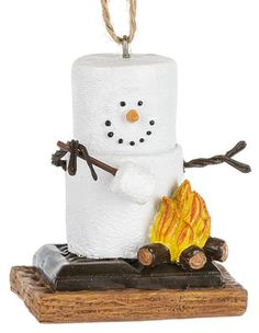 S'mores Snowman Roasting a marshmallow ornament. 1 3/4'' W. x 2 1/2'' H. Item Sm170835.