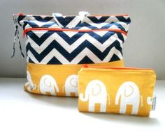 Bag Set  Diaper Bag Elephants in Yellow/Chevron with a Matching Zippered Pouch Included by barnofcolors for $50.00
