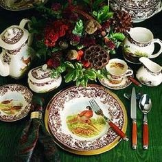 Spode woodland dinner china is perfect in a log home. It should make you smile every day on your dining table, not sitting hidden in a hutch.