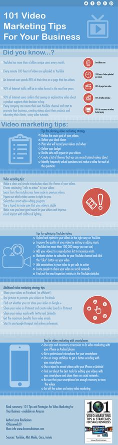101 video marketing tips for your business #infographic #marketing