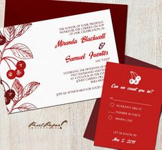 Plenty O'Cherries Wedding Invitation Suite by pixelpaper on Etsy, $35.00