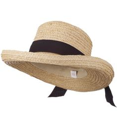 52b0d3d910288 Crushable Raffia Hat with Fine Paper Straw Braid - Tan Black OSFM Raffia  Hat