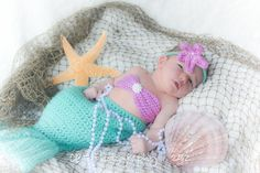 Baby Photo Idea: Crocheted Baby Mermaid Outfit
