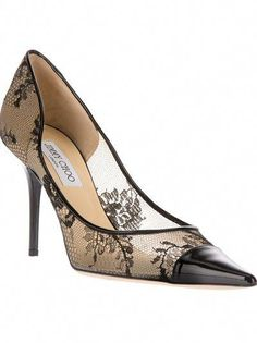 5a0793a3c6f Black 'Alias' floral lace pump from Jimmy Choo featuring a leather covered  pointed toe, a leather covered stiletto heel and a contrasting nude sole.  by ...
