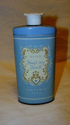 Vintage Avon Perfumed Talc Bottle Here's My Heart by EtagereLLC, $10.00