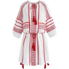 Chicwish Animated Boho Embroidered Dress in Red (690 ZAR) ❤ liked on Polyvore featuring dresses, red, white boho chic dress, boho chic dresses, white bohemian dress, red dresses and red boho dress