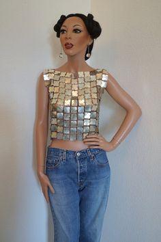 Paco Rabanne Vintage 1970s Space Age Silver Metallic Tunic Top / Paco Rabanne for Baumann Sofwear AG Top Paco Rabanne Space Curtain Fabric