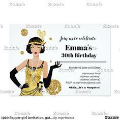Shop 1920 flapper girl invitation, gatsby birthday invitation created by miprincess. Gold Invitations, Birthday Invitations, Invites, 1920s Flapper Girl, Party Needs, Birthday Bash, Gatsby, Rsvp, Retro Vintage