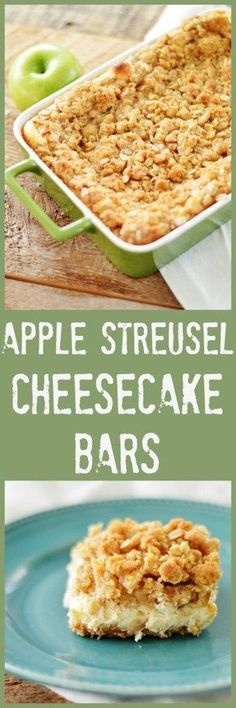 Apple Streussel Cheesecake Bars by A Teaspoon of Home
