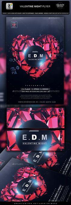 Valentine Night Flyer Template PSD. Download here: http://graphicriver.net/item/valentine-night-flyer/14572822?ref=ksioks