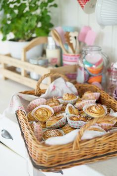 Basket of Cinnamon Rolls. Make minis for Aurelia's tea party.