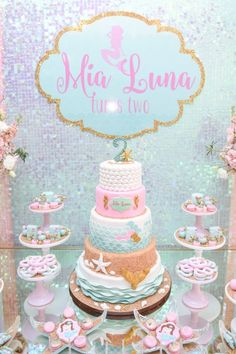 mermaid-birthday-party-cake-table