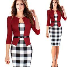 Item Type: Dress Suits Clothing Length: Regular Closure Type: Zipper Material: Cotton,Polyester Dresses Length: Knee-Length Sleeve Length: Three Quarter Neckline: O-Neck color: navy blue,purple,red,pl