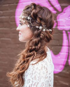 "Such a romantic boho chic rope braid bridal hairstyle from our friends at Philly Hair. Our gold and bronze flower hair vine ""Chrissy"" completes the whole look!"