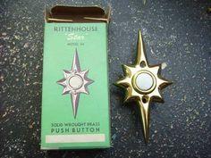 Vintage Rittenhouse Mid-Century Modern Starburst Door Bell Push Button