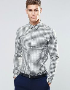ASOS+Skinny+Shirt+In+Khaki+Gingham+Check+With+Long+Sleeves