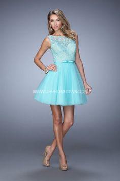 2015 La Femme 21385 Short Lace Embellished Homecoming Dresses