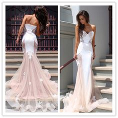 Charming Sweetheart Mermaid Blush Pink Prom Dress with Sweep Train - Thumbnail 1