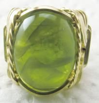 R447 Genuine Peridot Ring 14k Gold gf Mens or Ladies