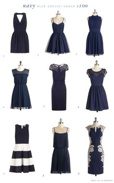 Navy Blue Dresses Under $100. A collection of cute navy blue dresses for weddings, bridesmaids, wedding guests and other events all under $100!.