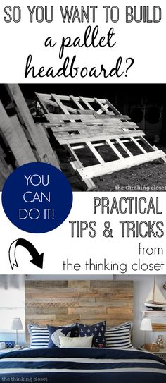 You Want to Build a Pallet Headboard? You can totally do it! Here are some tips & tricks via to help you along the way.So You Want to Build a Pallet Headboard? You can totally do it! Here are some tips & tricks via to help you along the way. Pallet Crafts, Diy Pallet Projects, Pallet Ideas, Home Projects, Pallet Furniture, Furniture Projects, Do It Yourself Upcycling, Do It Yourself Furniture, Diy Headboards