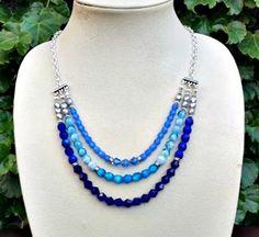 Blue czech glass and swarovski crystal multi strand necklaces-cobalt blue, cornflower blue and light blue necklace-silver mutli stranded