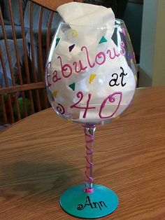Birthday wine glass happy 40th