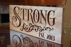 Marriage Gift: Custom Signs  Established Name Anniverary Gift Last Name Sign Carved Wooden Signs Business Logo Family Sign Cherry 7x18 SN