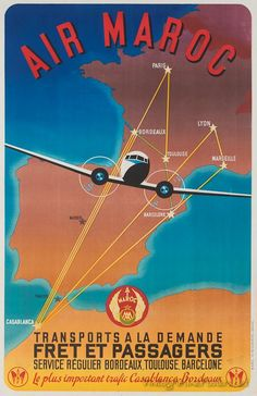Air Maroc passengers and freight vintage ad