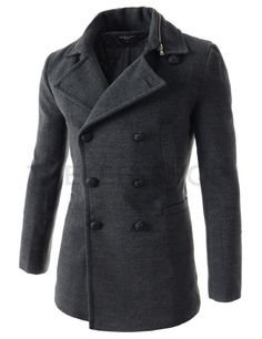 (ZWC-CHARCOAL) Mens Slim Fit Double Breasted Zipper Removable Collar 8 Button Wool Coat