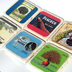 SALE Vintage Peacock Labels - Set of 6. $26.00, via Etsy.