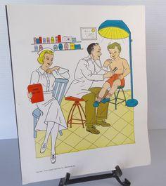 Vintage 1958 Doctor / Nurse School Poster  by theoldmilkbarn