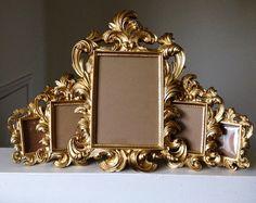 Set Of 5 Gold Ornate Baroque Picture Frames Easel Back Wedding Sign Place Card…