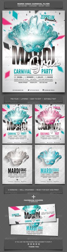 Mardi Gras Carnival Flyer Template  Features:PSD Files Print Ready 4 Versions included 2 Facebook covers included Layered Well organised and named 300dpi CMYK 8.5x11 inches 0.25 inches bleed 9x11.5 inches size with bleed 2700x3450px Editable text Very easy to