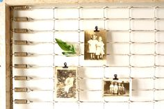 "Vintage / Antique Crib Bed Spring Frame in Wood and Metal, 51"" long (c.1910s) - Inspiration Board, Photo Holder, Garden Decor, Wedding Decor..."