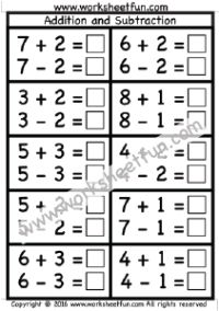 Addition and Subtraction – One Worksheet