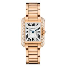 Cartier Tank Anglaise Small Rose Gold & Diamond Watch (WT100002)