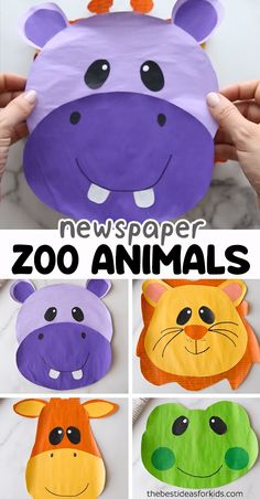 NEWSPAPER ZOO ANIMALS 🦁🐸🦒🦛 - such cute animal crafts for kids! crafts for kids for teens to make ideas crafts crafts Animal Crafts For Kids, Toddler Crafts, Art For Kids, Kids Animals, Funny Crafts For Kids, Arts And Crafts For Kids Toddlers, Safari Animal Crafts, Animal Masks For Kids, Jungle Crafts
