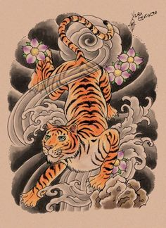 Tiger tattoo design by whiteshaix