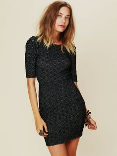 Free People Long Sleeved Textured Bodycon