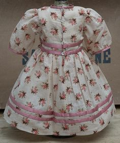 Antique French Original  Silk & Cotton Dress for Jumeau Bru Steiner Bebe or German Doll about 22""
