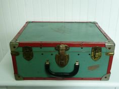 Reserved 1950s Green And Red Roller Skates Case, Suitcase Luggage, Christmas…
