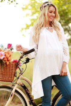 Ivory Floral Cutout Sleeve Button Front Maternity Tunic