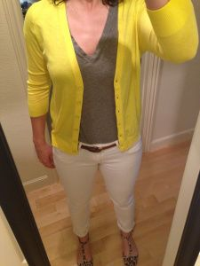 Gray Tee, Yellow Cardigan, White Jeans
